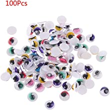 Yuanhaourty 100pcs Colorful Plastic Safety Doll Eyes with Eyelashes Self Adhesive Eyes for Doll Bear Stuffed Toy DIY Craft