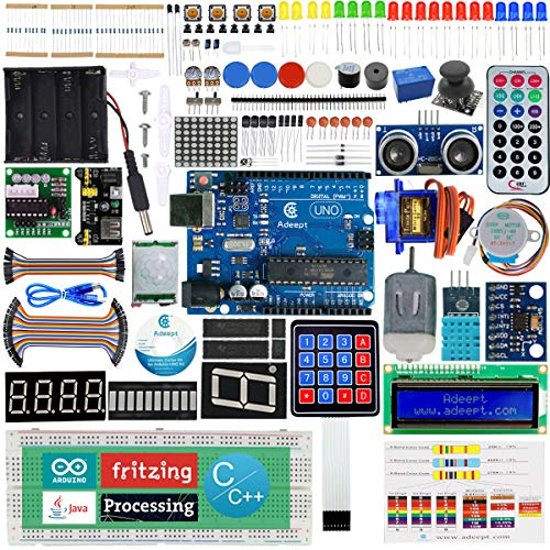 Adeept Ultimate Starter Kit Compatible with Arduino IDE, Relay, Processing and C Code, LCD1602, Servo Motor, Beginner Starter Kit with 140 Pages PDF Guidebook