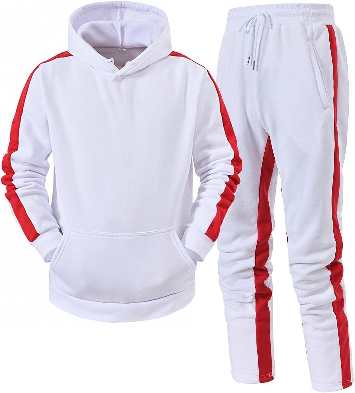 XUNFUN Men's Tracksuits 2 Piece Outfits Hip Hop Jogging Suits Casual Long Sleeve Hoodies Pullover Sweatshirts Sweatpants Set