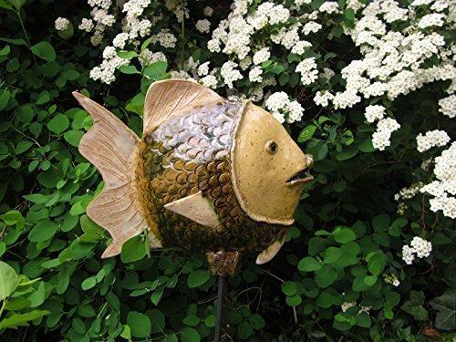 Garten Dekoration Fisch Keramik Camena grün, weiß, sand, Größe: ca 25 cm hoch, ca 27 cm lang.