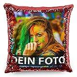 Tassendruck Foto-Kissen mit bedruckten roten Wendepailletten Selbst gestalten (40 x 40 cm) - mit...