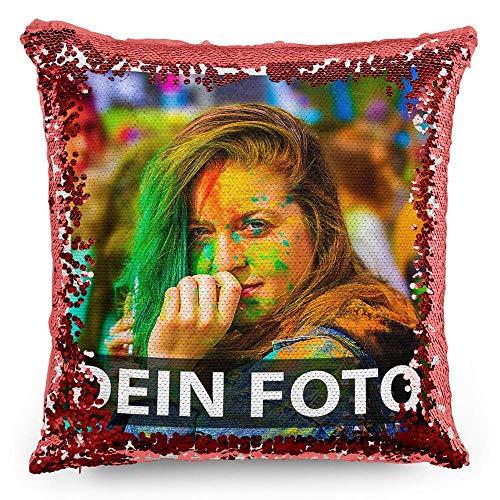 Tassendruck Foto-Kissen mit bedruckten roten Wendepailletten Selbst gestalten (40 x 40 cm) - mit Foto individuell Bedruckt/Personalisierte Geschenk-Idee/Deko-Kissen inkl. Füllung