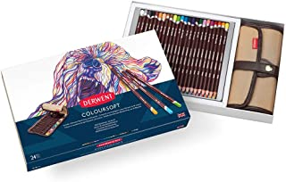 Derwent Colored Pencils, Coloursoft Pencils, Drawing, Art, Gift Set with Canvas Pencil Wrap, 24 Count (2301999)