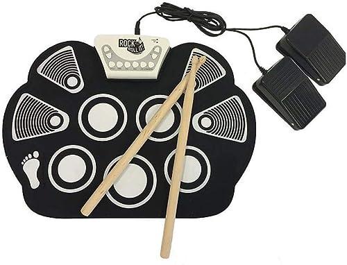 Rouleau à Main Tambours électroniques Pliables Enfants InstruHommests de Musique avec 2 pédales de Pied et des batons de Tambour pour Les Enfants débutants
