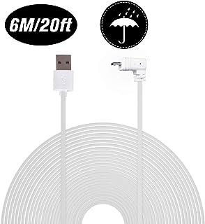 Cable de alimentación Resistente a la Intemperie Compatible con la cámara para el hogar Blink XT y para la cámara para Interiores Blink de 6 m / 20 pies de Longitud Blanco