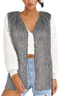 KCatsy Women Gillet Waistcoat Jacket Faux Fur Furry Pluffy Stylish Sleeveless Ladies Vest Coat 6 Colours