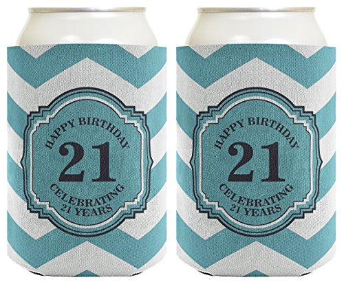21st Birthday Gifts For All Beer Coolie Celebrating 21 Years Chevron 2 Pack Can Coolie Drink Coolers Coolies Premium Full Color