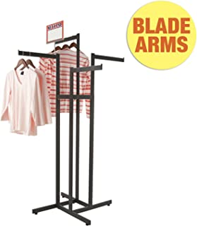 Clothing Rack – Black 4 Way Rack, Adjustable Height Arms, Blade Arms, Square Tubing, Perfect for Clothing Store Display With 4 Straight Arms