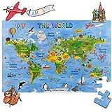 Rompecabezas Amagenius con diseño de mapa del mundo para mesa y suelo con piezas extragruesas