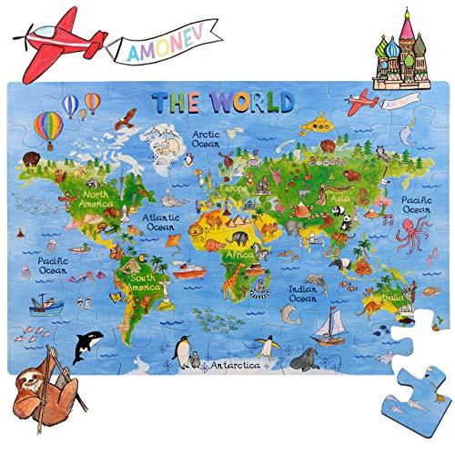 Amagenius Rompecabezas diseño de Mapa del Mundo para Mesa y Suelo con Piezas extragruesas