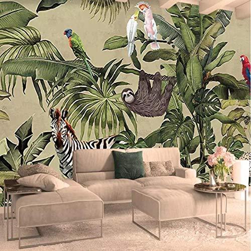 3D fotobehang, vintage tropisch regenwoud vogel palmbladeren woonkamer TV achtergrond wandfoto, behang 280 cm (B) x 180 cm (H)