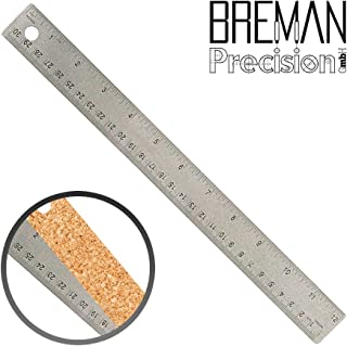 Breman Precision Stainless Steel Metal Rulers | Straight Edge Rulers with Inch and Metric Graduations for School Office Engineering Woodworking | Flexible with Non-Slip Cork Base (12