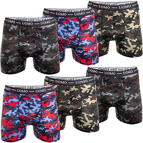 UOMO 6er Pack Herren Boxershorts Unterwäsche Retroshorts Unterhose M L XL 2XL 3XL 4XL Baumwolle Camouflage M 6X Camouflage