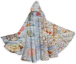 FEYHF Carta Marina Sea Monster Map Unisex Christmas Halloween Witch Party Reversible Hooded Adult Vampire Cloak Cloak