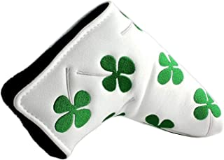 Amy Sport Golf Putter Head Covers Blade PU Leather Lucky Clover Skull Pattern Design, Pack Club Headcover Fits All Brands Men Women Scotty Cameron Taylormade