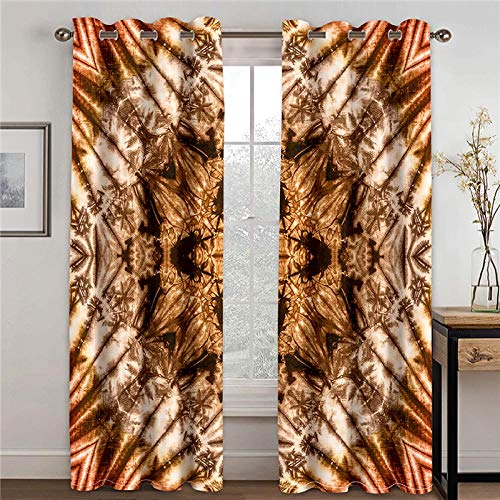 ZFSZSD Thermal Insulated Bedroom Curtain Vintage & pattern Blackout Curtains Block Out 98% Sunlight Reduce Noise Protect Privacy Tie Backs Not Included 2 x W66 x L72 Inch