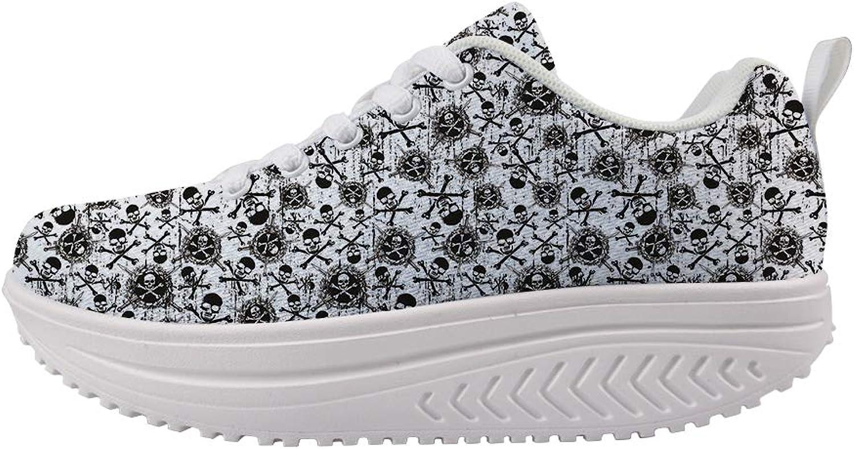 Owaheson Swing Platform Toning Fitness Casual Walking shoes Wedge Sneaker Women Cross Bones Sword of Death Pirate Skulls