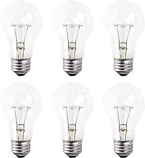 A19 Clear Incandescent Rough Service Light Bulb, 40 Watt, Long Life - 10000 Hours, 2700K Soft White, E26 Medium Base, 260 Lumens, 130V (6 Pack)