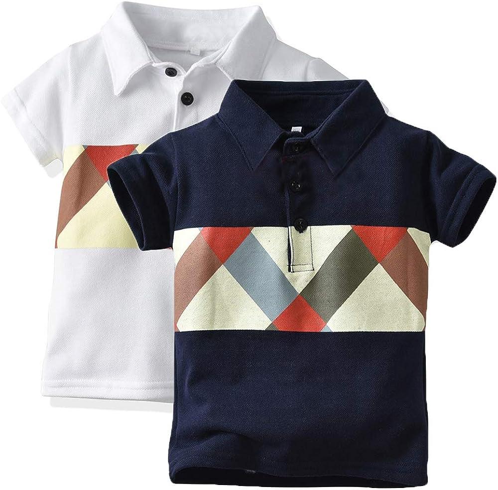 xirubaby Toddler Boys 2-Pack Fashion Short Sleeve Chest Print Polo Shirt