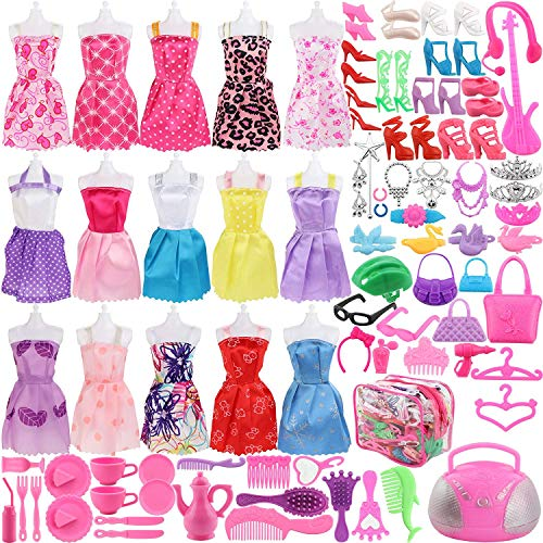 WENTS Kleidung zubehör Set 100Pcs Puppenkleidung Partei-Kleid Outfits und Accessoires Für Barbie Puppen 10 Pack Kleider 8 Paar Schuhe 82Pcs Accessoires für Kinder Geschenk für 30CM Doll
