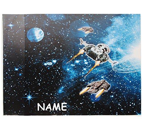 alles-meine.de GmbH Schreibtischunterlage / Unterlage -  Weltraum - Space - Raumschiff  - incl. Name - 50 cm * 39 cm - Tischunterlage / Knetunterlage / Bastelunterlage - abwasc..