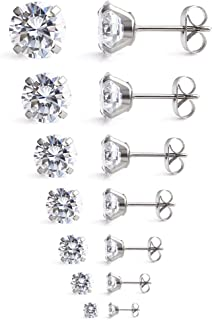 20G Mix Color Stainless Steel Clear Round Cubic Zirconia Stud Earrings for Men Women 2-8mm 7Pairs