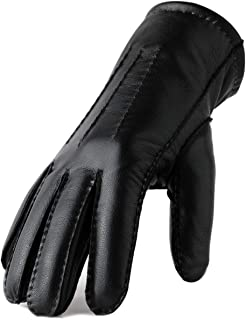Genuine Leather Winter Gloves for Men Warm Lining