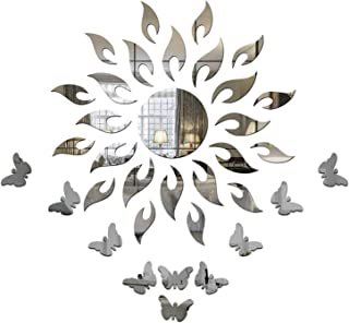Wall1ders 1Store Sun with Extra Flame Silver with 10 Butterflies (1.5 Feet) 3D Acrylic Decorative Mirror Wall Stickers for...