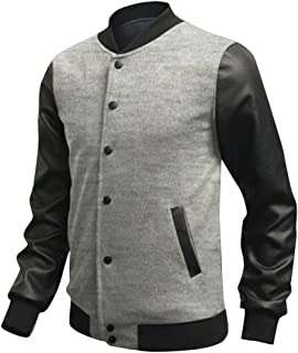 ARTFFEL-Men Fashion Single Breasted PU Spell Leather Baseball Jacket