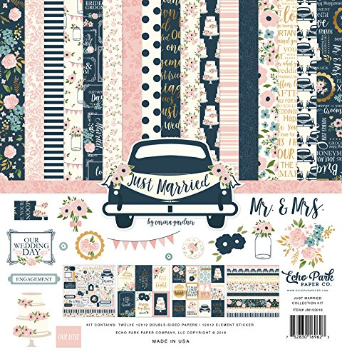 Echo Park Paper Company Just Married Collection Kit, Marineblau, Rosa, Koralle, Creme, Blaugrün, Gold