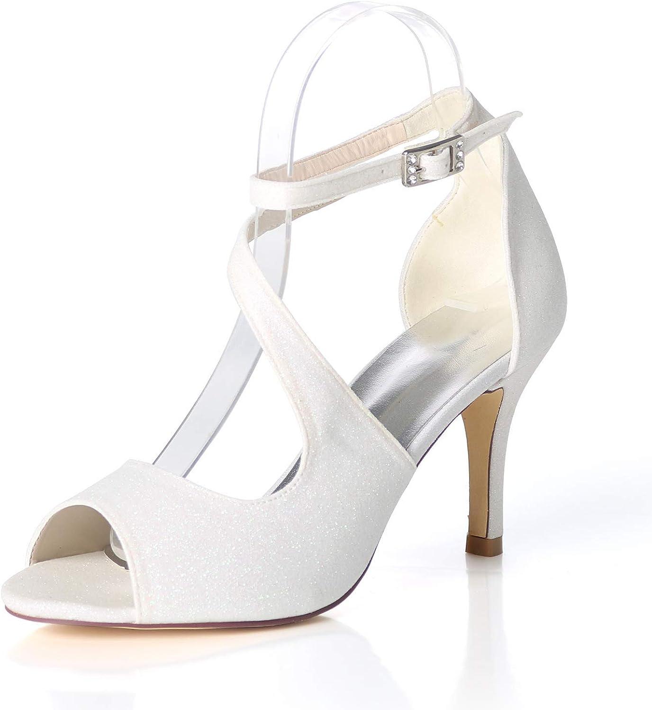 LLBubble High Heels Sequin Open Toe Sandals Women Ankle Buckle Strap Formal Party Dress shoes 9920-19GLT