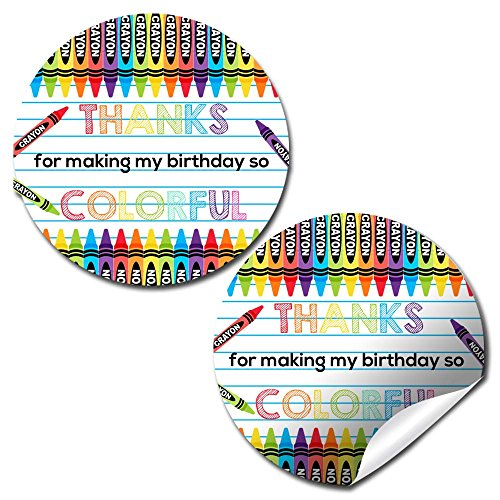 Crayon Thank You Birthday Party Sticker Labels, 40 2' Party Circle Stickers by AmandaCreation, Great for Party Favors, Envelope Seals & Goodie Bags