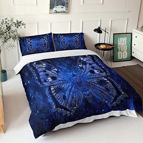 ZHOUJIELUN Fundas Nordicas 220x230 cm Mariposa Azul Ropa De Cama Suave Transpirable Microfibra con Cremallera y 2 Fundas de Almohada de 50x80 cm