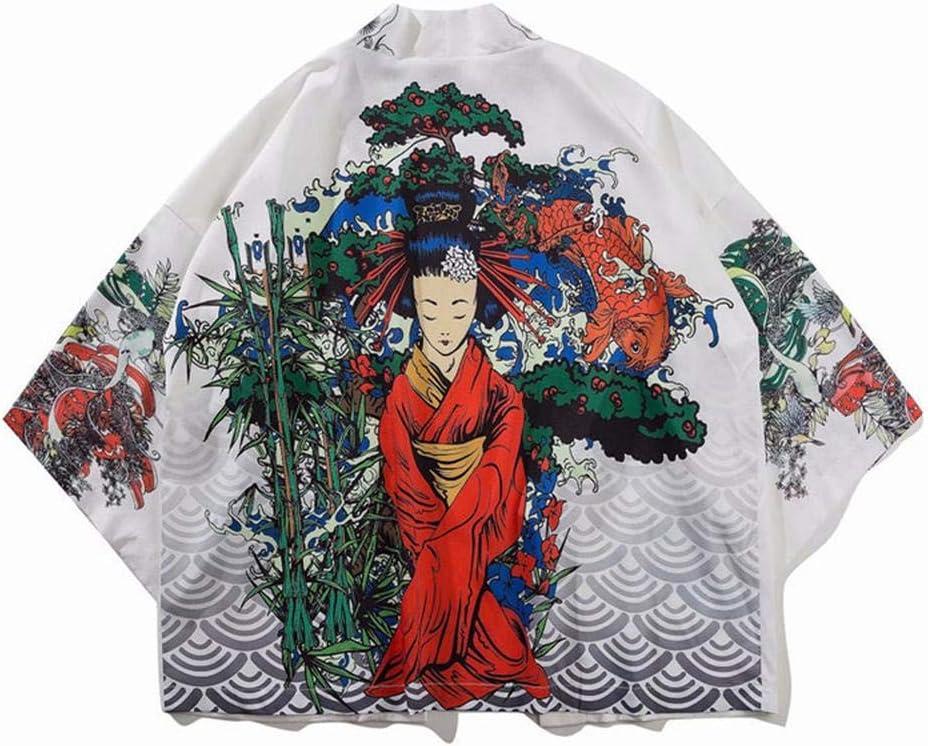 Yicaler Women Kimono Cardigan Bathrobe Shirt Loose Pajamas Retro Hanfu Men's Shirts Robe Men and Women Fashion Cloak Shirt White-Medium