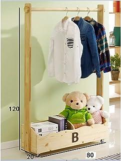 Porte manteau Porte-manteau pour enfants, Cintre amovible en bois massif pour chambre à coucher, Armoire de rangement mult...