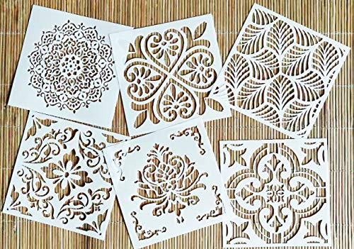 OBUY Reusable Stencil Laser Cut Painting Template Floor Wall Tile Fabric Furniture Stencils Mandala Painting Stencils Set of 6 (6x6 inch)
