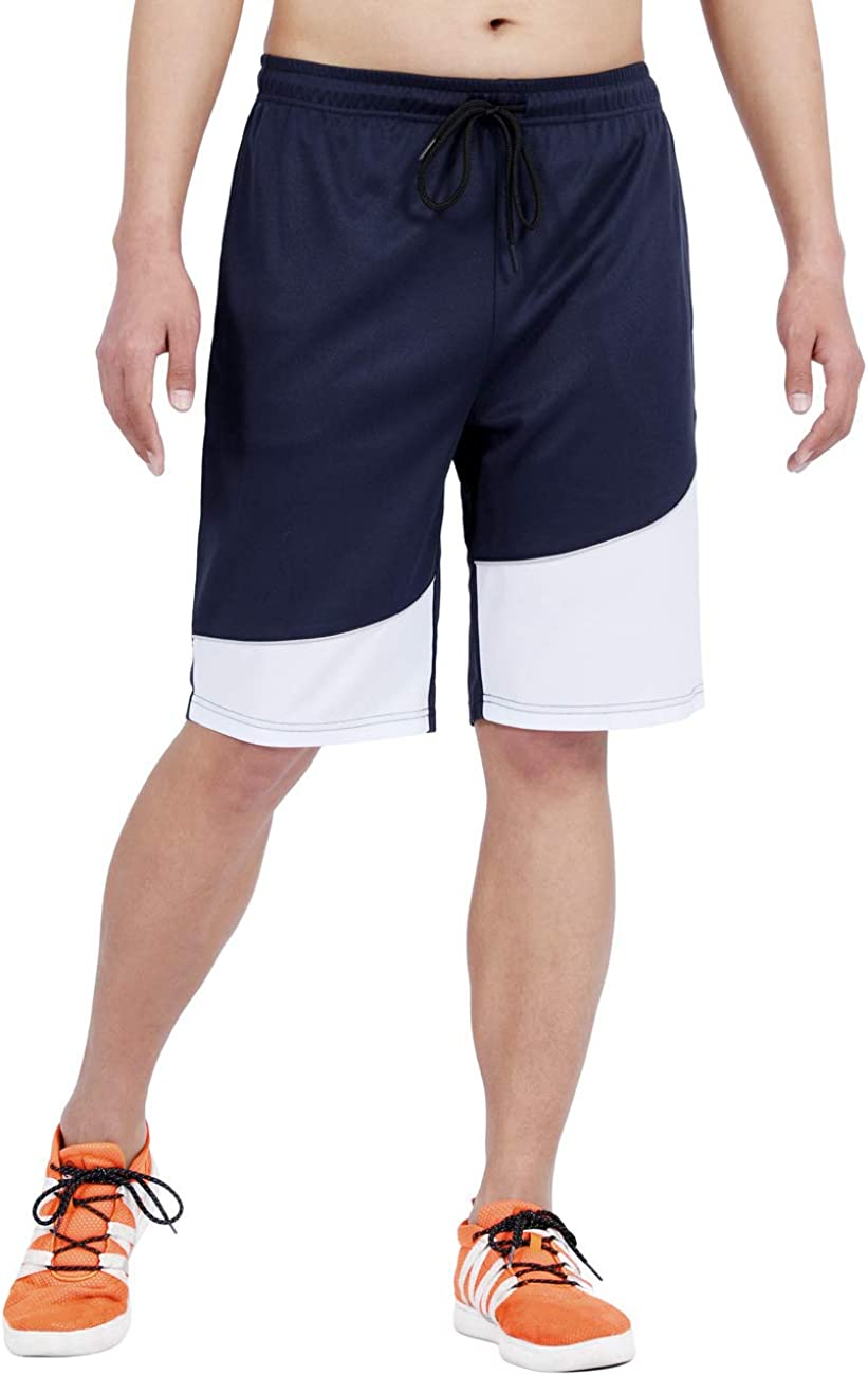DISHANG Mens Cool Basketball Shorts Mesh Quick Dry Gym Shorts with Pocket