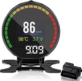 VJOYCAR P15 Car Hud OBD Head Up Display with Digital Speedometer Coolant Mileage Odometer Turbo Boost Pressure RPM OBDii Faulty Code Diagnostic Tool
