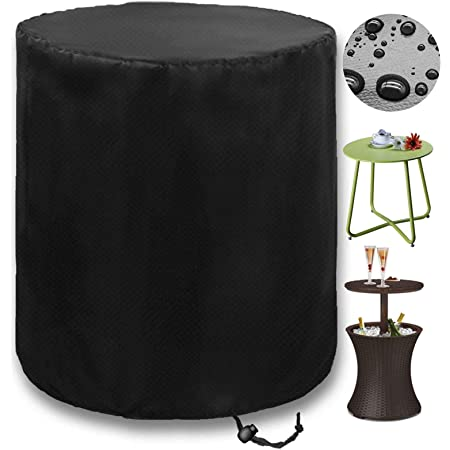 """PatiosGuard Outdoor Side Table Cover for Keter Pacific Cool Bar Tables, Waterproof & Heavy Duty Protection for Patio Beer Wine Coffee Cooler Furniture (Round - 20"""" L x 20"""" W x 22.5"""" H)"""