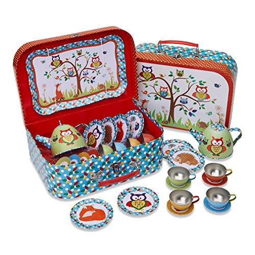 Lucy Locket Woodland Animals Metal Tea Set & Carry Case Toy (14 Piece Tea Set for Children) Red, Blue, Green Tea Set Toy
