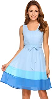 Zeagoo Women's Summer Scoop Neck Sleeveless Colorblock Chiffon A-Line Pleated Party Cocktail Dress with Belt