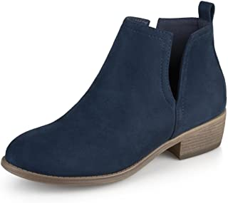 Journee Collection Womens Round Toe Faux Suede Boots Blue, 7.5 Regular US