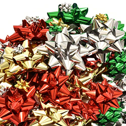 """120 Christmas Bows Self Adhesive for Presents Wreaths Wrapping Holiday Gifts Includes Large Medium Small and Mini Sizes in Red Green Silver and Gold 24 of 4"""", 30 of 3"""", 30 of 2"""",and 36 1"""" Bows"""