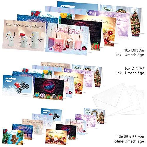 'pricaro Cartoline di Natale con buste motivi 1, 30pezzi