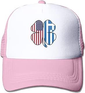 American Greece Greek Flag Shamrock Adult Mesh Cap Adjustable Snapback Trucker Hat Pink