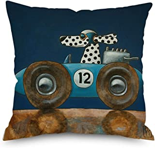 Throw Pillow Cover Decorative Durable Cushion Cover 18 x 18 Cute Potty Dog Drives a Blue Old Vintage Convertible Car Pillo...
