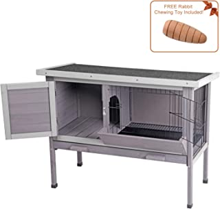 Aivituvin Outdoor Rabbit Hutch, Wooden Bunny Cages Indoor with Deeper Leakproof Tray - Upgrade with Metal Wire Pan