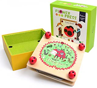 Happytime Flower & Leaf Press Nature Crafts MD0071 Wooden Art Kit Outdoor Play Learning Toy for 3+ Years Old Kids