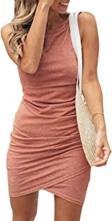 Women Casual Crew Neck Ruched Sleeveless Tank Bodycon...