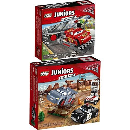 LEGO Juniors Disney Cars 2er Set 10730 10742 Lightning McQueens Beschleunigungsrampe + Rasante Trainingsrunden in der Teufelsschanze